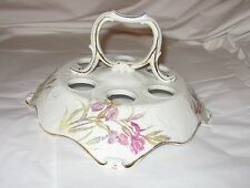 Vintage Victorian Porcelain Egg Holder Server Iris w/ Gold Trim Stamped Marked