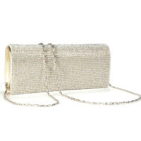 Shimmering Gold Diamante Evening Bag Clutch Purse Wedding Party Handbag