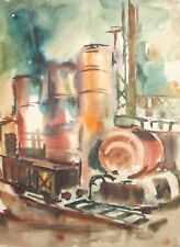 Vintage post impressionist watercolor painting cityscape factory train station