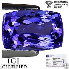 2.30 Ct IGI Certified AA Natural D Block Tanzanite Blue Violet Color Cushion Cut