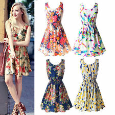 Woman's Summer Bohenmia Sleeveless Chiffon Floral Casual Mini Dress Size 6-16