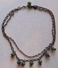 "David Aubrey Fringe Necklace Brass Tone Chain Green Stone & Pink Crystal 16"""