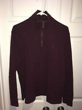 Polo by Ralph Lauren Mens Pullover S  Small Red Long Sleeve 1/4 Zip Mock Neck