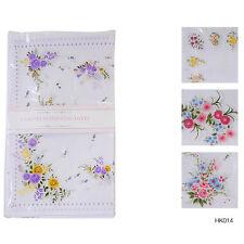 8 Pack Ladies White Hankies Floral Print Poly Cotton Handkerchiefs HK014