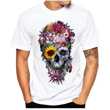 Men's white T-Shirt Size S With Graphic Print SKULL-FLOWERS,AMAZING,Very POPULAR