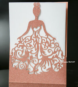 8 Princess Rose Gold Laser Invitation Card Wedding Quinceanera Party Glitter