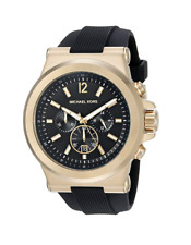New Michael Kors Dylan Gold Black Chronograph Silicone MK8445 Men's Watch