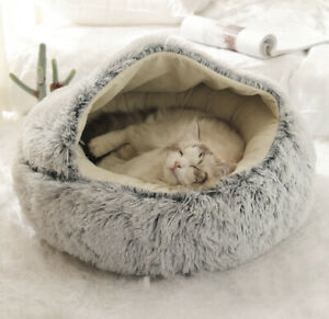 GORGEOUS PET BED - LARGE GREY FLUFFY PRIVATE NEST (NEW WITH TAG RRP £45) CAT DOG