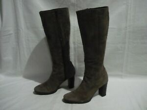 MILANA WOMEN'S BROWN GENUINE SUEDE LEATHER LONG BOOTS~SIZE 36 1/2  MADE IN ITALY