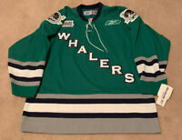 NEW AUTHENTIC PLYMOUTH WHALERS OHL GREEN REEBOK HOCKEY JERSEY SIZE L LARGE RARE