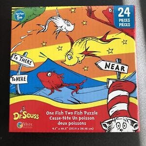 """NEW One Fish Two Fish Dr. Seuss Jigsaw Puzzle 9.1"""" x 10.3"""" 24 PCs; Ages 5+;"""