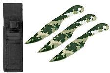 "3pc 6.25"" Throwing Knife Target Set Nylon Storage Case Pouch Steel Digital Camo"