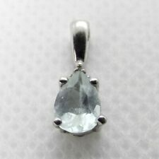 Pear AQUAMARINE & DIAMOND 10K white GOLD pendant