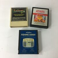 Lot of 3 Vintage Atari 2600 Games Ms Pacman Coleco Venture Activision Fishing