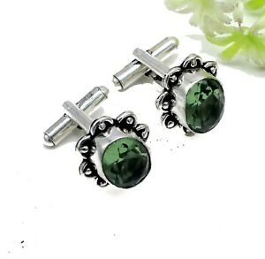 "Handmade 925 Sterling Silver Green Amethyst Gemstone Jewelry Cuff Links Size-1"""