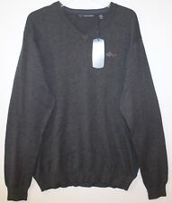 Greg Norman Mens Charcoal Gray Lightweight Cotton V-Neck Sweater NWT $79 Size M
