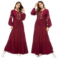 Islamic Abaya Women Muslim Maxi Dress Jilbab Cocktail Party Kaftan Vintage Robe