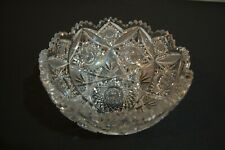 Antique Exceptional American Brilliant Period Cut Crystal Glass Large Bowl