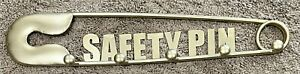 """18.5"""" X 3.75"""" Metal Safety Pin Wall Hanging W/5 Pegs For Jewelry Or Other Items"""