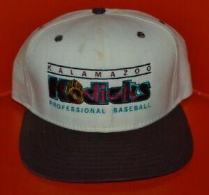 VTG 90s Kalamazoo Kodiaks Snapback Minors Baseball Hat Cap New Era USA Defunct