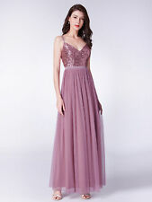 Ever-Pretty Rose Brown Sequin Long Bridesmaid Dress Spaghetti Holiday Gown 07392