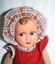 Attendrissante  poupée chiffon  ancienne tissu bourré paille 44cm