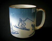 "4""~OTAGIRI~Japan~CERAMIC~Mug~STONEWARE~Downhill~ALPINE~Slalom~SKIING~Blue&White"