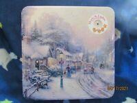 "1997 Thomas Kinkade Cookie Tin- Village Christmas  9 1/2""x 2-5/8"" Tall Musical"