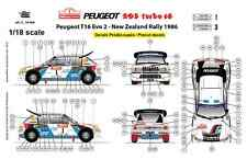 Ffsmc Productions Decals 1/18 Peugeot 205 Turbo 16 Nouvelle Zélande 1986