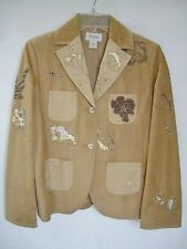 NEIMAN-MARCUS EXCLUSIVE Embroidered Brown Suede-Leather Blazer Jacket NEW sz 6