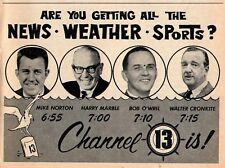 1963 TV NEWS AD~MIKE NORTON~HARRY MARBLE~BOB O'WRIL~CHANNEL 13~WEATHER & SPORTS