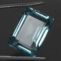 Natural Aquamarine Greenish Blue Color Octagon Cut 32.25 Ct. Loose Gemstone