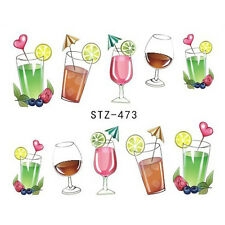 Nail Art Decals Transfer Stickers Fruity Summer Cocktails (DS473)