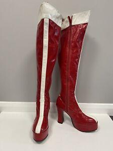 Wonder Woman Red/white PVC Platform Boots Size 7 Ex Hire Fancy Dress Costume