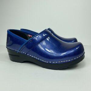 Sanita Womens Size EU 36, US 5 Blue Patent Leather Original Danish Comfort Clogs