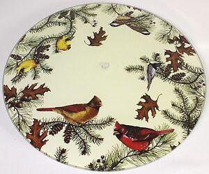 """Song Birds 15"""" Lazy Susan Tempered Glass Schmidt Art Serving Plate Flowers New"""