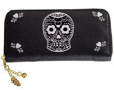 Banned Zucchero Teschio Rockabilly Gotico Wallet Donna portamonete con zip intorno NERO BIANCO