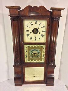 Ant 1850s Forestville Triple Decker Clock w/ Elephant Tablet Column & Cornice