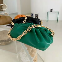 Real Leather Ruched Square Ring Chain Pouch Clutch Shoulder Bag Party Evening