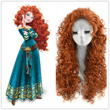 Disney Princess Merida Brave Cosplay Wig Long Curly Orange WIGS for KID CHILD