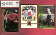 TIGER WOODS 3 CARDS PGA GOLF WORN RELIC + GRADED 10 2001 STAT CARD +2001 MOMENTS