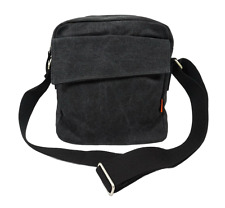 Canvas Casual Shoulder Bag Messenger Bag for Men and Women - Charcoal Black