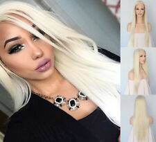 """AU STOCK 24"""" Lace Front Wig Synthtic Bleach Blonde Straight Heat Safe Full Wig"""