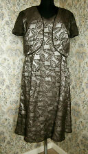 Brown 2 piece party suit JACQUES VERT Size 16 Dress & short jacket Leaf pattern