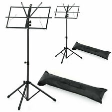 2-Pack Adjustable Folding Music Stand Black with Carrying Bag Black