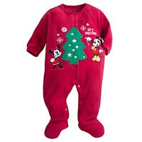 Disney Store Mickey Minnie Mouse My 1st Christmas Sleeper Baby Holiday Outfit