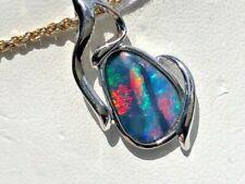 SUPER BRIGHT RED RIVER 100% Natural Australian Boulder Opal blue green Black