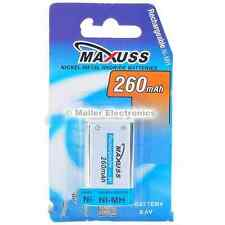 3x Maxuss 9v 260mah NiMH recargables PP3 K9V R22 MN1604 6F22 alarma de 4