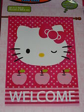 """Hello Kitty Large House/Garden Pink Welcome Flag 28""""X40""""-New In Package"""