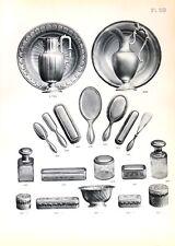 Stampa antica argenteria BACINELLE SPAZZOLE Boulenger 1890 Old print silverware